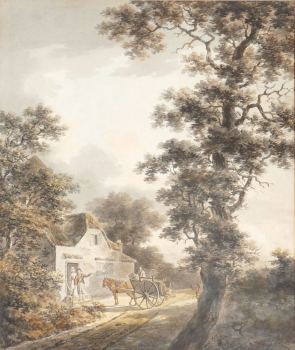 Rustics with Horse & Cart by a Cottage, Dominic Serres