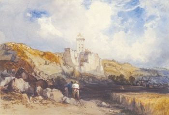 Workers near a Hilltop Chateau, Charles Bentley