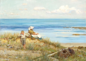Woman and Child on the Dunes (inscr 'Bembridge'), Sir Ernest Albert Waterlow