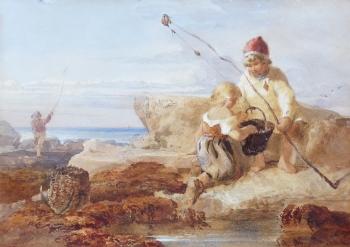 Children Fishing on the Rocks, John Henry Mole