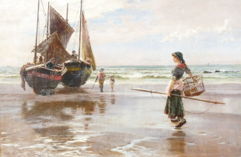 Meeting the Boats, Frank Sydney  Muschamp
