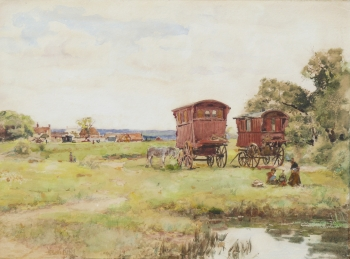 Gypsy Caravans on a Common, Henry John Yeend King
