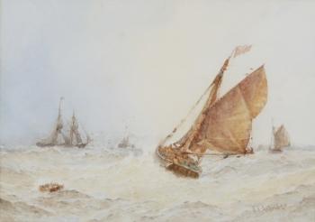 Fishing Smack in a Stiff Breeze, Frederick James Aldridge
