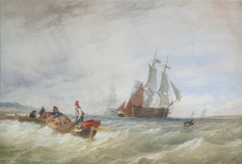 Fishermen and Shipping off the Coast, Thomas Sewell Robins