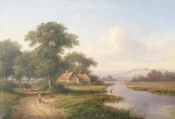 River Valley with Angler & Cottages, Walter Heath Williams