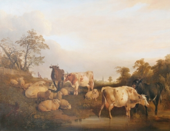 Cattle & Sheep at a Country Pool, Thomas Sidney Cooper
