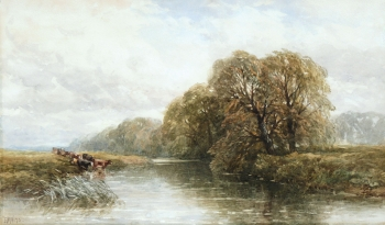 River Landscape with Cattle Watering, Edmund Morrison Wimperis