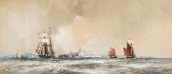 A Grey day off Scarborough, Frank Henry Mason