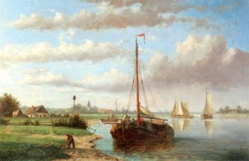 Boats in a Dutch River Landscape 1, Hendrik Hulk