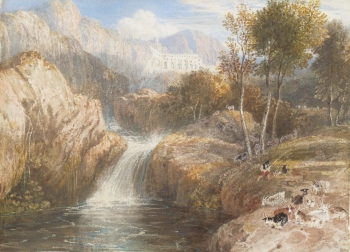 A Cascade with a Villa Beyond, William Havell