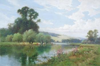 On the Avon at Salisbury  , Alfred Fontville De Breanski