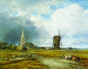 View of Heene Sand, Sussex, with Church and Mill , James Webb