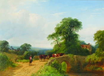 Cattle Herder Crossing a Bridge, Henry Jutsum
