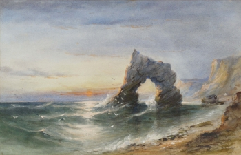 Arch Rock, IOW at Sunset, William Henry Earp