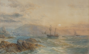 Sailing Vessels Running for Harbour in a Gale, Samuel Philips Jackson