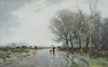 Cattle Drover & Dog on a Country Lane , William Tatton Winter