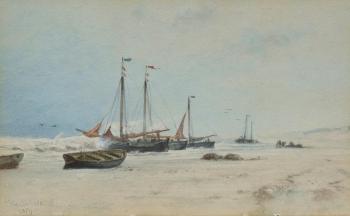 A Fishing Fleet Beaching, Hendrick Veder