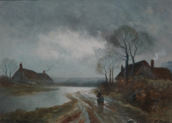 Figures on a Country Lane at Dusk, F Arnold