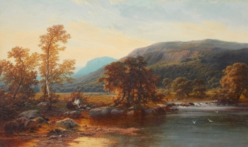 Shepherds Resting by a Highland River, Benjamin Williams Leader