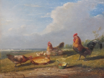 Cockerell & Hens with Chicks, Franz Van Severdonck