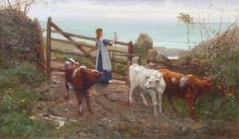 Girl with Calves on the Coast, Frank E Cox