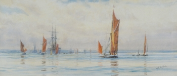 Sailing Barges in an Estuary, William Lionel Wyllie