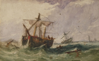 Fishing Boats in Rough Weather, William Adolphus Knell