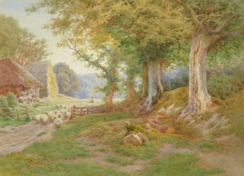 Sheep in a Wooded Landscape, Charles James Adams