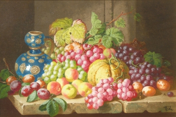 Still Life of Fruit on a Ledge, Charles Thomas Bale