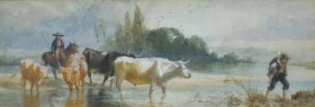 Herding Cattle across a River, Richard Beavis