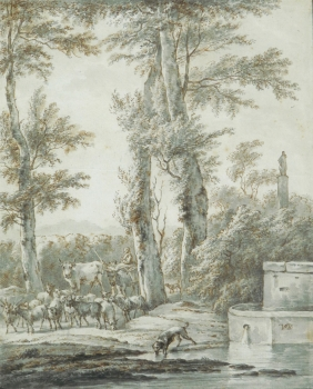 Cattle Being Herded to a Water Trough, Jacob  van der Does