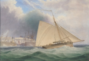 Sloop in a Fresh Breeze off Whitby, George Chambers