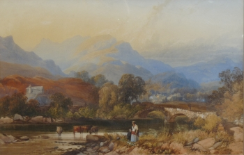 A Walk by the River Brathay, with Ambleside in the Distance, James Burrell Smith
