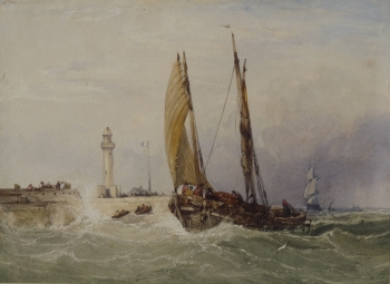 Fishing Boat off a Harbour Entrance with Lighthouse, Charles Bentley