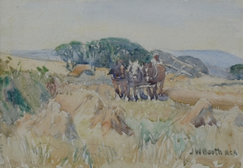Team of Horses Pulling a Haycart, James William  Booth