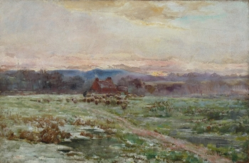 Checking the Flock at Sunset, Claude Hayes