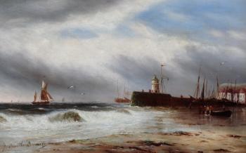 Boats off a Pier, Gustave de Breanski