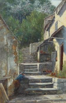 A Sunlit Corner, Clovelly, John William Salter