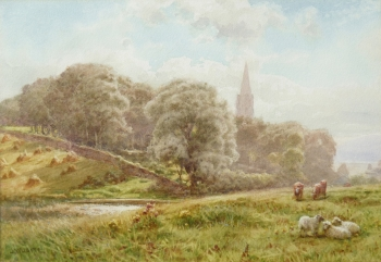 Cattle Grazing before Church & Woodland, James Whaite