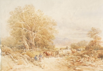 Droving Cattle in a Country Lane, David Cox senior