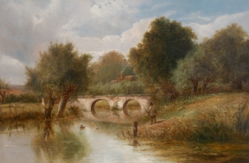 River Landscape with Angler, Joseph Thors
