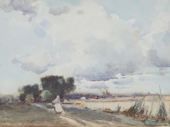 Woman Walking along a Riverside Path  , Hubert Coop
