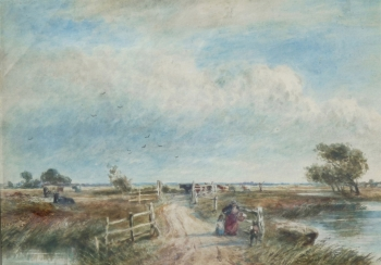 Woman & Children Crossing a Causeway  , David Cox senior