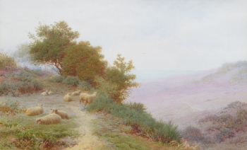 Sheep Resting on a High Bluff, Frederick Williamson