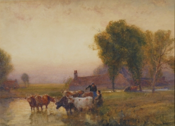 Drovers Watering Cattle , Robert Thorne Waite