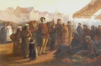 Lyre Player Entertaining Crowds at a Market, Continental School