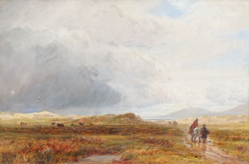 Figures & Horse on a Moorland Track  , Charles Thomas Burt