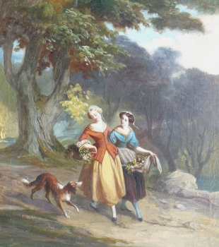 Two Girls Carrying Baskets of Flowers, French School