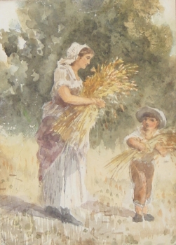Woman & Boy Gathering Stooks, Joshua Cristall