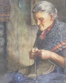 Old Woman Knitting, Albert George Stevens